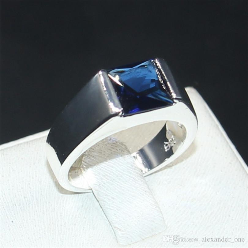3e6d52a6c883b Men s Eternity 925 Silver Square Blue Diamond Simulated Zircon Stone  Solitaire Cocktail Rings Engagement Anniversary Band Jewelry boys