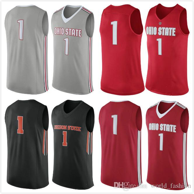 3df7a16b Ohio State Buckeyes Men College Basketball Jersey Embroidery Black ...