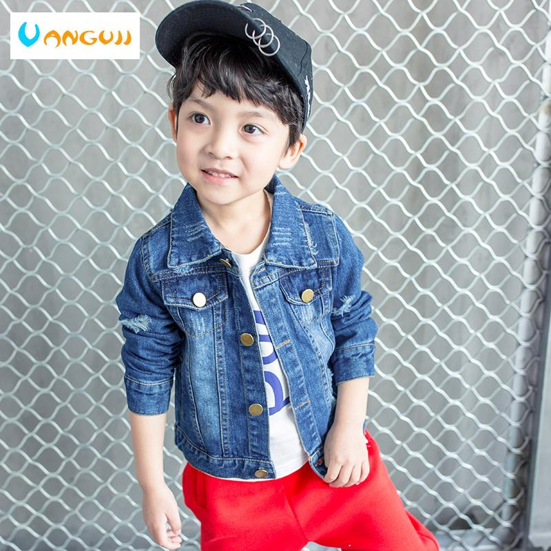 ebe76f916 boys autumn coat denim jacket for kids 1-9 years old Solid color basic  denim coat Washed stone hole short all match tops