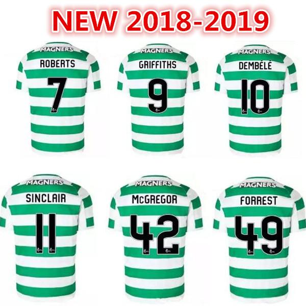 half off 36502 2ce21 18 19 Home Soccer Jersey Away Short sleeve soccer jersey Celtic Griffiths  dembele Sinclair Rogic McGregor Roberts Forrest Football shirt uni