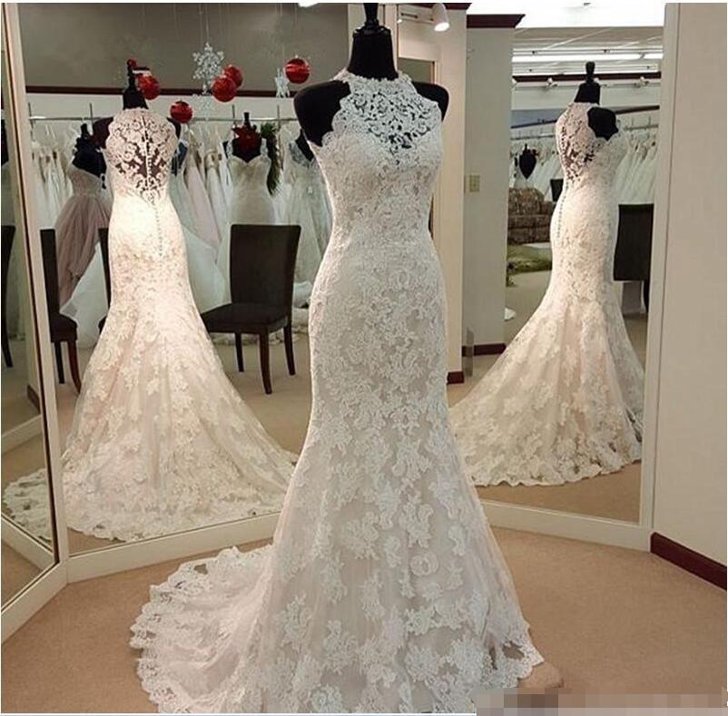 Halter Mermaid Wedding Dresses 2018 Sleeveless Button Sweep Train Lace and Applique Real Photos Bridal Dress Vestido De Noiva
