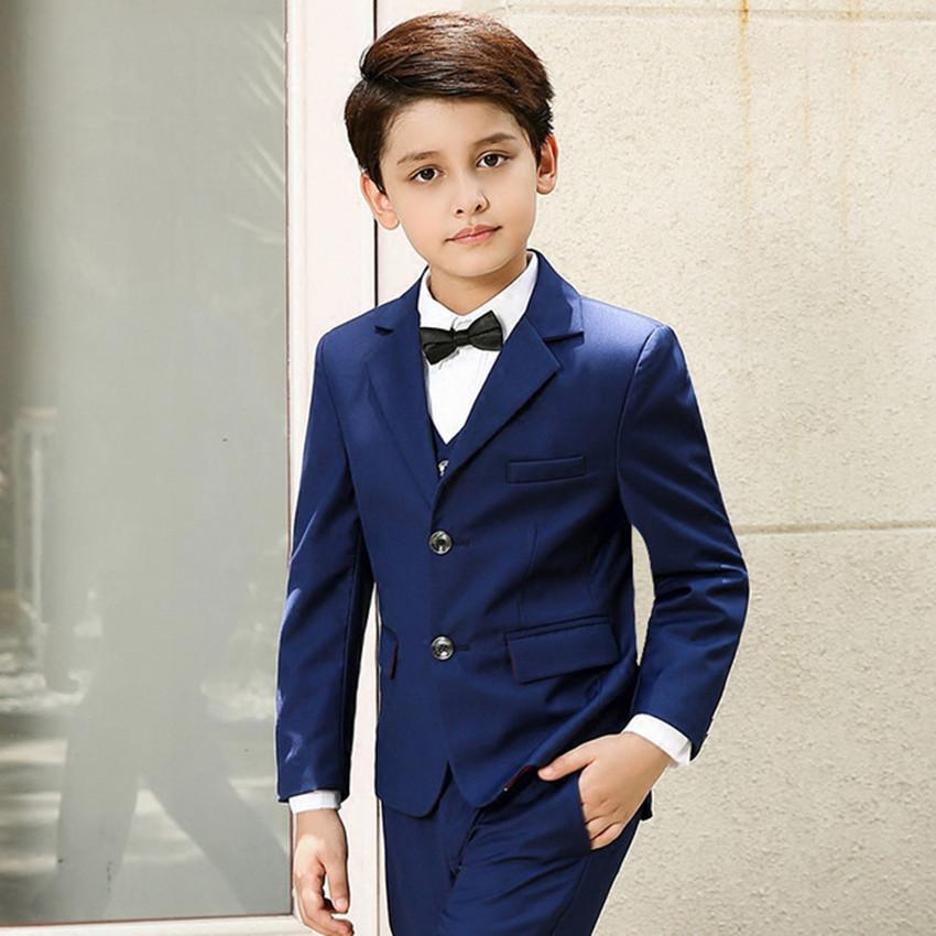 760c022cfca1b 5pcs/Set Boys Suits For Weddings Kids Prom Suits Black Wedding Suits Kids  Blazers Boys Clothing Set Boy Formal Classic Costume