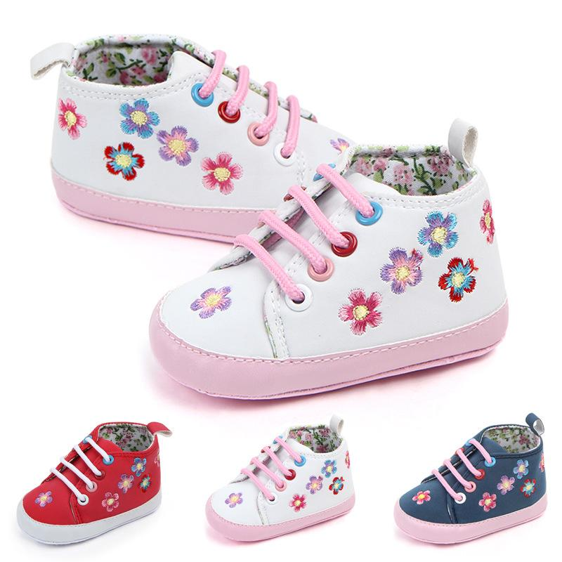 23116d5377827 Newborn Baby First Walk Girl Boy Floral Lace-up Soft Sole Leather ...
