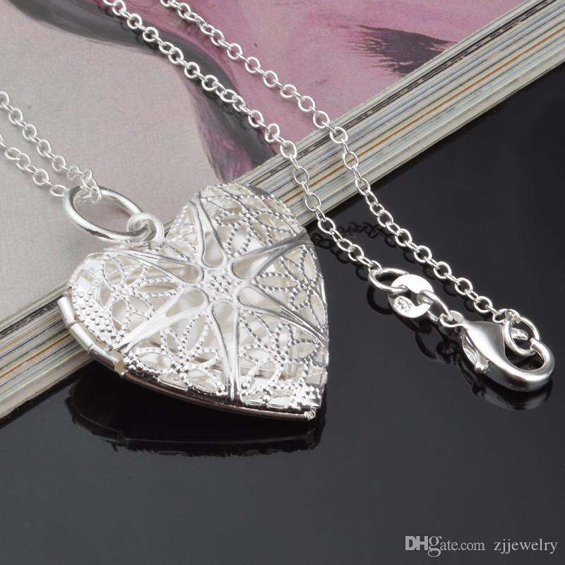 2018 925 Silber überzogene Halsketten Anhänger Halskette Ketten Anhänger Lockets Kreis / Herz Box Anhänger für Frauen P56