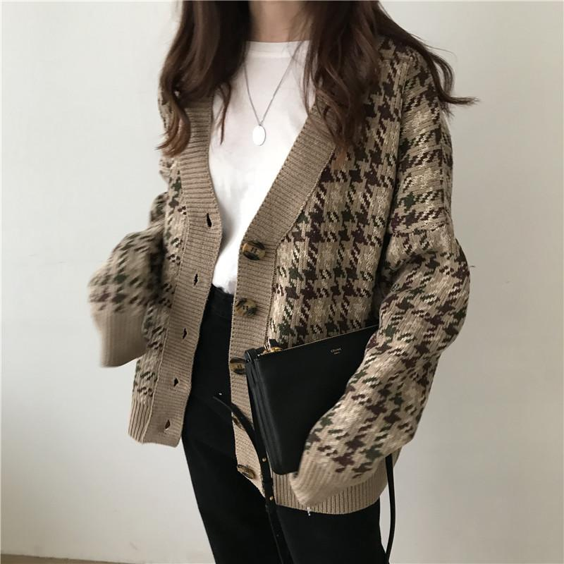 a6868537b9d4e6 Classic 2018 vintage check sweater jacket chunky academy style knitted  cardigan top for women's casual