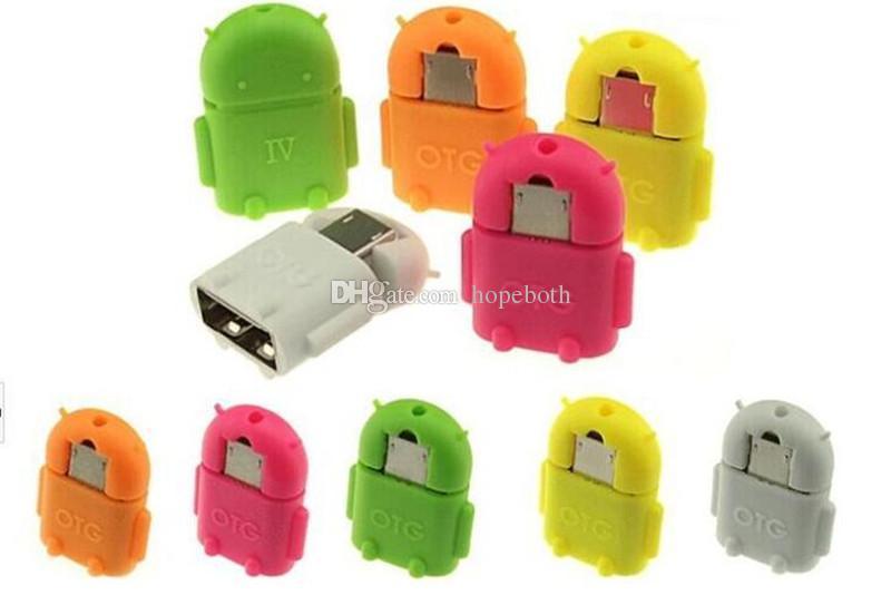 Mikro USB USB OTG Adaptörü Android Robot Şekli OTG Adaptörü akıllı telefon için, cep telefonu USB Flash Bağlamak / Fare / Klavye
