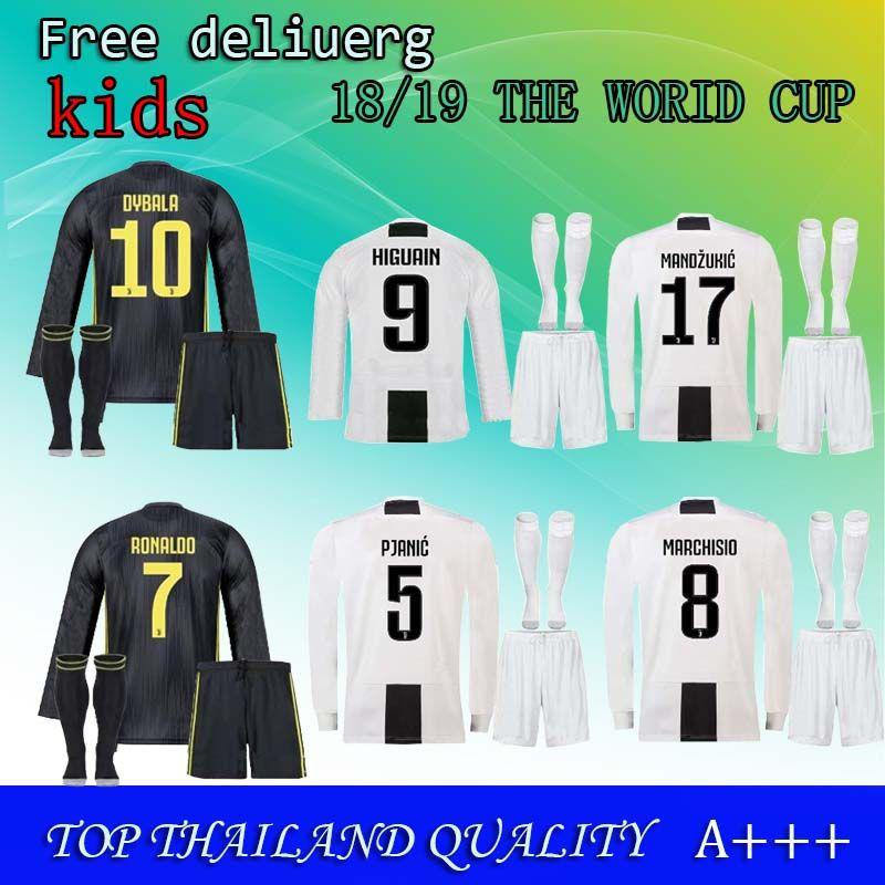 new concept fc778 04418 18 19 new season #7 RONALDO JUVENTUS kids Soccer Jersey #10 DYBALA D.COSTA  MANDZUKIC White JUVE home young top quality Football Shirts