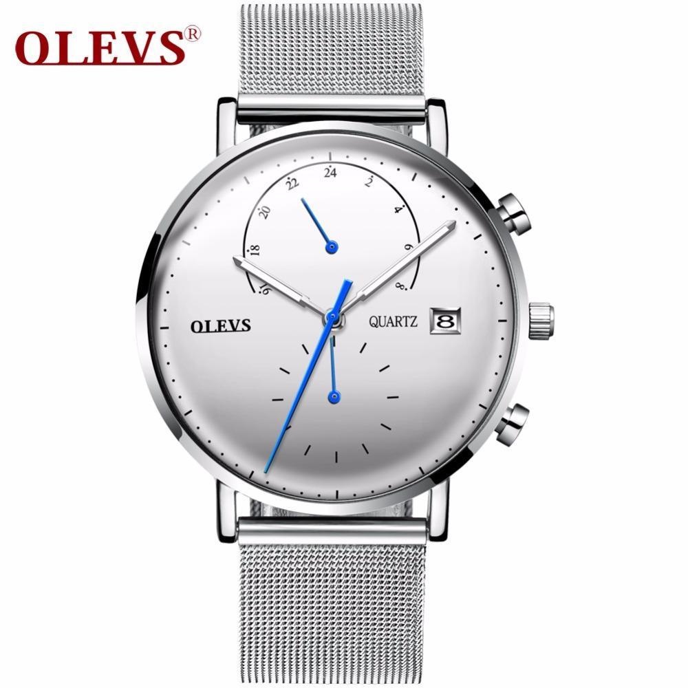 43fe9762b17 Compre OLEVS Luxury Multifunction Watch Hombres Calendario Luminous Hands Reloj  Hombre Relojes De Pulsera De Malla Correa De Acero Relojes Relogio  Masculino ...