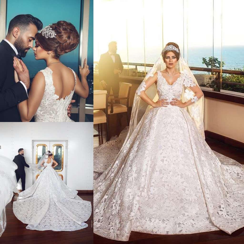 2019 Luxury Wedding Dresses Dubai Ball Gown V Neck Lace Applique Beads  Saudi Arabia Plus Size Bridal Gowns Sweep Train Vestidos De Noiva Formal  Wedding ... 5c57682928ad