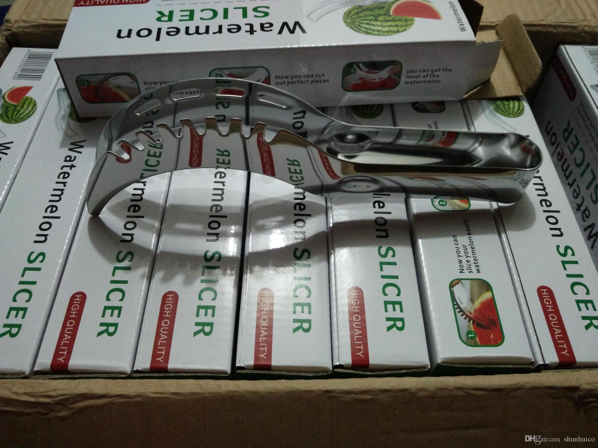 Affettatrice di anguria taglia più grande in acciaio inox frutta affettatrice corer frutta taglierina coltello utensili da cucina scatola di colore