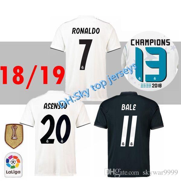 89f01e075 2019 18 19 Real Madrid Soccer Jersey Ronaldo Modric Kroos Sergio Ramos Bale  2018 2019 ASENSIO ISCO Champions League 13 Cup Football Shirt Uniform From  ...