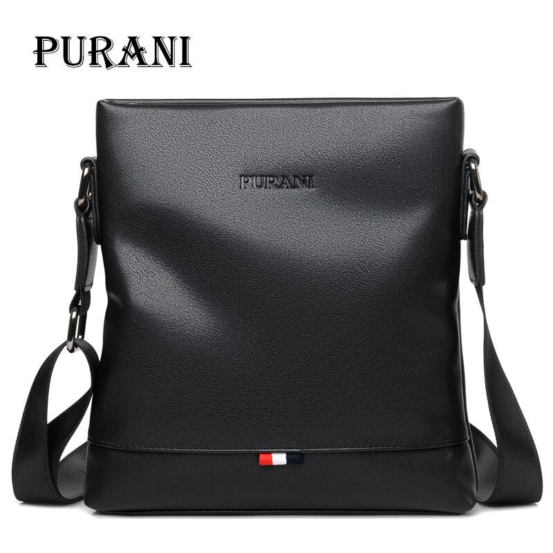 PURANI Casual Black Messenger Bag Men Leather Handbags Crossbody Bags For Men  Small Shoulder Bag Man Sling Bags Mens Satchels Hobo Handbags Luxury  Handbags ... 096abee802a2e