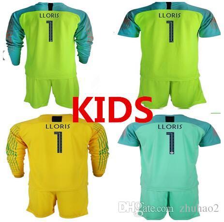 34c8ac08edb 2019 2018 World Cup 2 STAR KIDS Goalkeeper Jerseys  1 LLORIS Long Sleeve  Goalie T Shirt Kits KID Uniforms Children Goalkeeper Jerseys From Zhuhao2