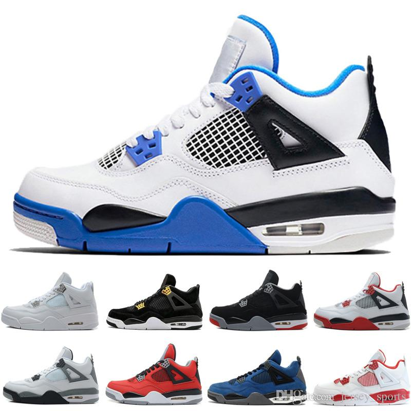 cb159a0a4a0f82 2019 4 4s Men Basketball Shoes Alternate Motorsports Blue Game Royal Fire  Red White Cement Pure Money Black Cat Bred Oreo Sport Sneakers Trainers  From ...