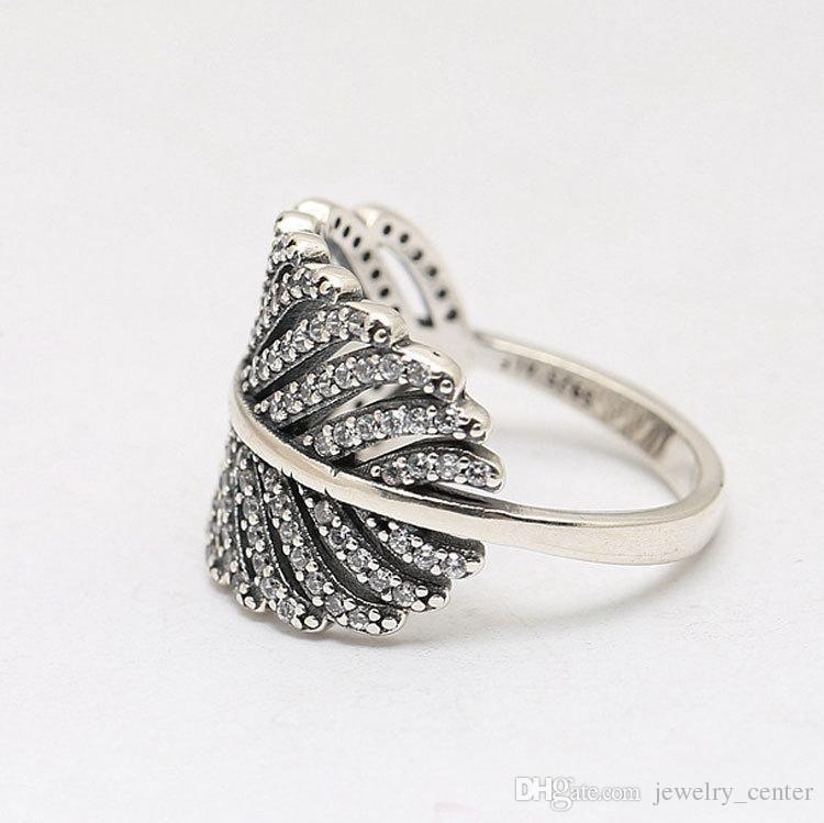 클리어 CZ 다이아몬드 925 스털링 실버 깃털 반지는 여성 18K 로즈 골드 크리스탈 결혼 반지를위한 판도라 스타일의 보석에 맞게