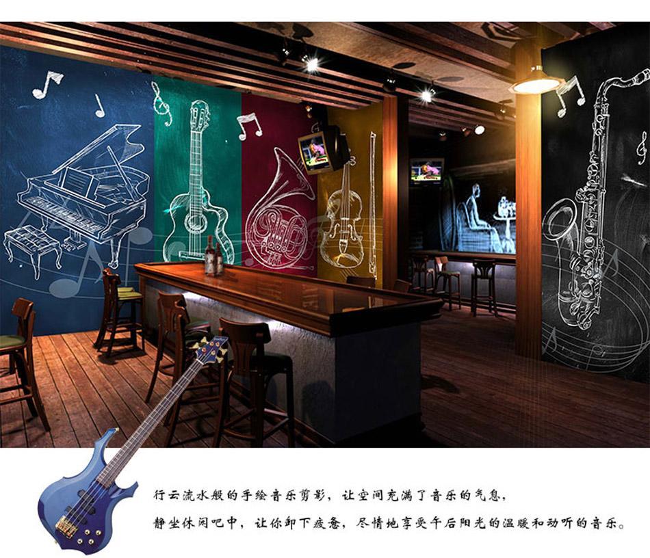 3D Instrument Shop RockNRoll Music Band Wallpaper For Hotel Restaurant Bar KTV Living Room Bedroom Ofiice Mural Rolls Decor Cell Phone Wallpapers