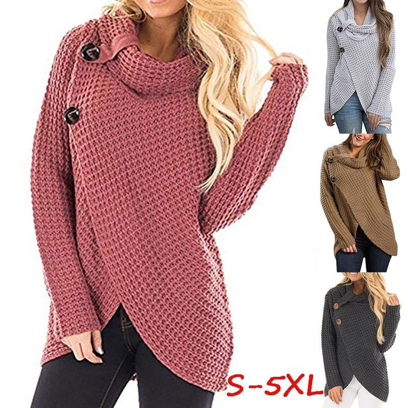 2019 Womens Fashion Casual Cowl Neck Wrap Long Sleeve Chunky Knit
