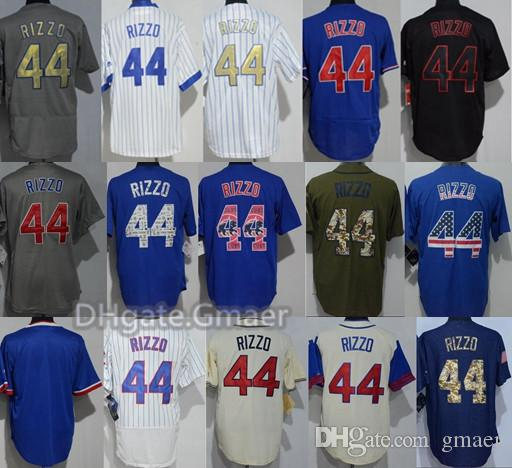 8400f9a85 2019 New Men'S Flex Base Jersey 44 Anthony Rizzo White Blue Grey Gold Black  Embroidery 100% Stitched Baseball Flexbase Jerseys Free Drop Shipping From  Gmaer ...