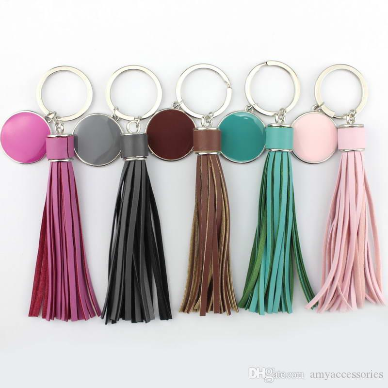 Personalized Monogram Blanks Enamel Disc & Leather Tassel Keychain Initial  Engraved Disc Leather Key Chains for Bag Pendant Car Keychain
