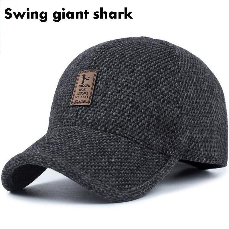 97e802604ca Wholesale-Swing Giant Shark High Quality Men s Winter Baseball Cap Warm  Thicken Warm Knit Hats with Earmuffs Aliexpress Aliexpress.com Online  Shopping ...