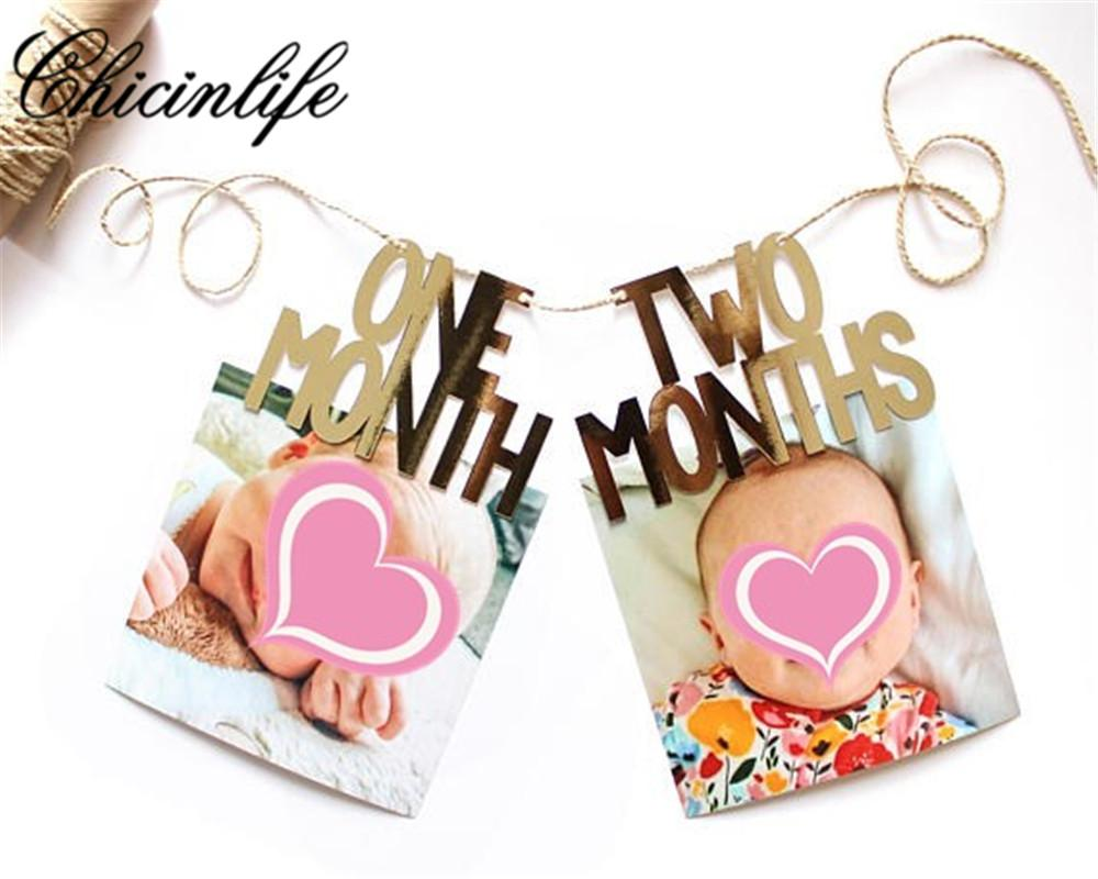 2019 Chicinlife 1 12 Month Photograph Garland Year Old Happy Birthday Signs Banner First Party Photo Booth Props Decor From Anzhuhua