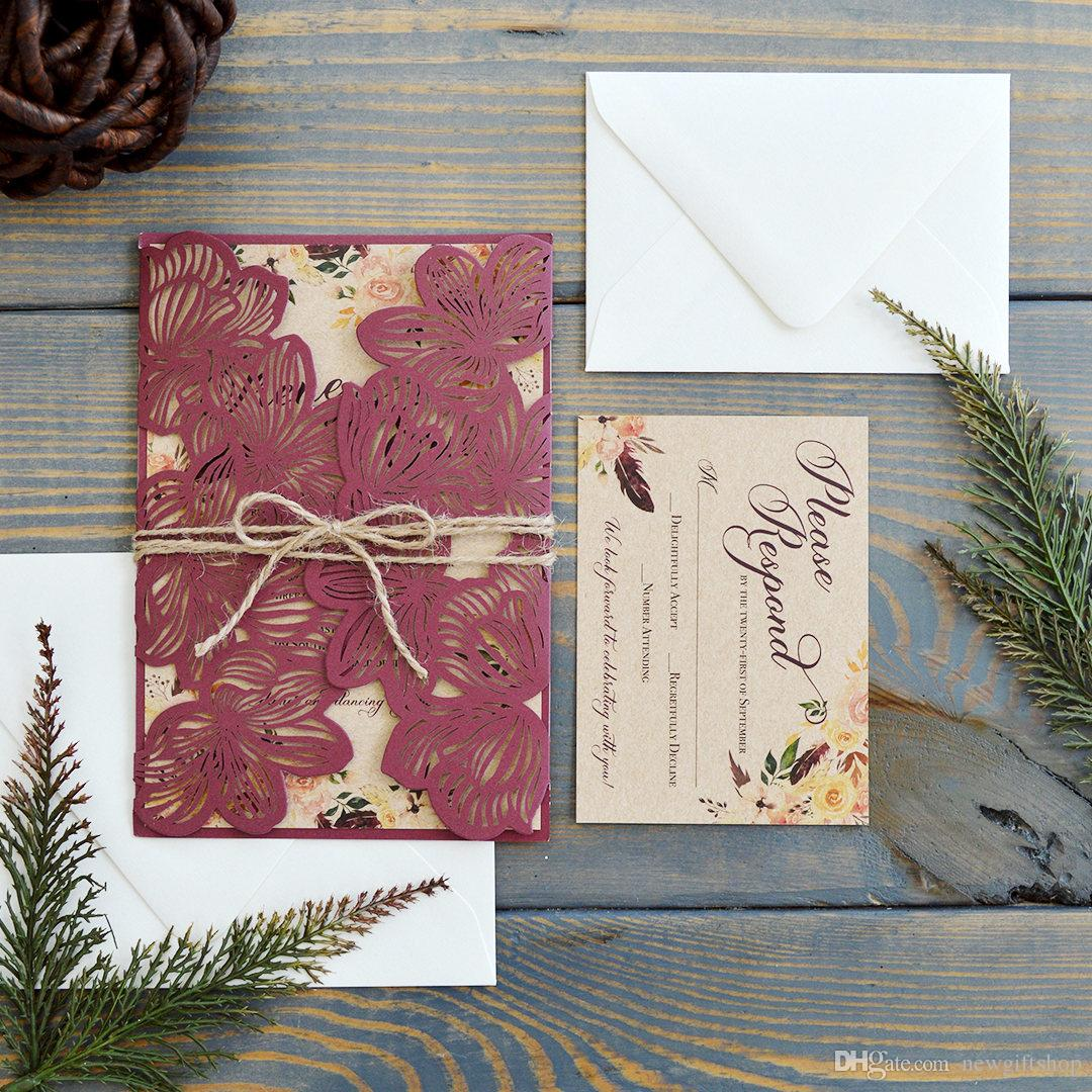 Rustic Burgundy Petal Free Printed Wedding Invitations Cards With