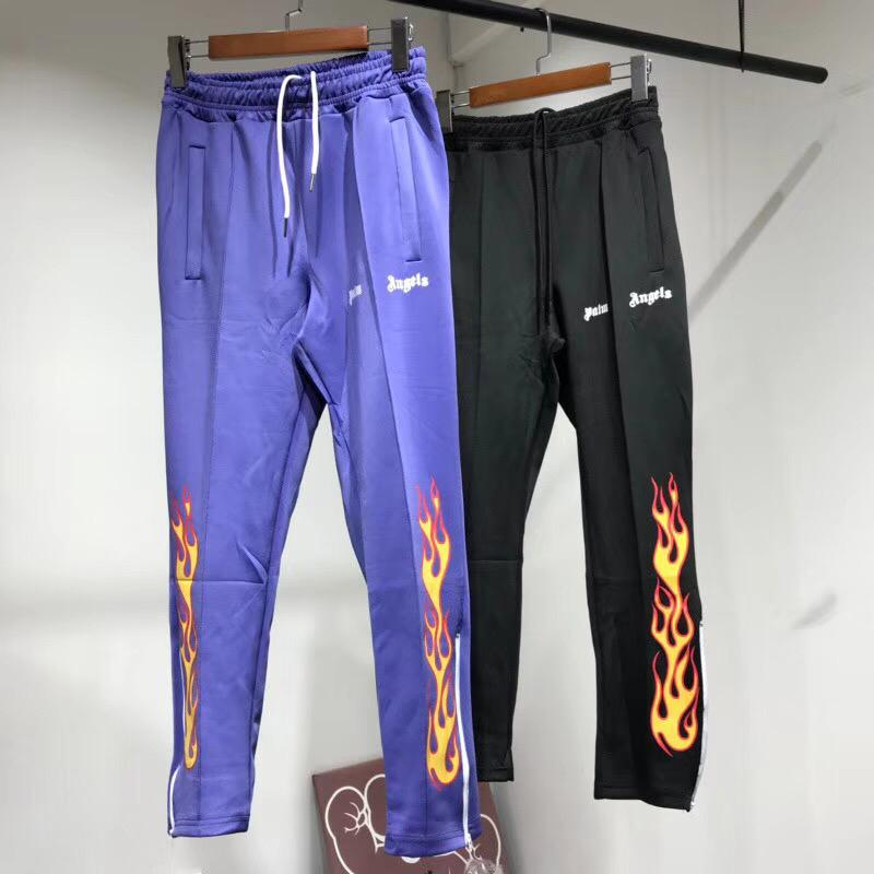 b9d82f17 2019 18SS Palm Angels Flame Straight Pants Men Women Casual Loose Trousers  Elastic Street Hip Hop Pants Sport Fitness Pants Sweatpants HFYMKZ024 From  ...
