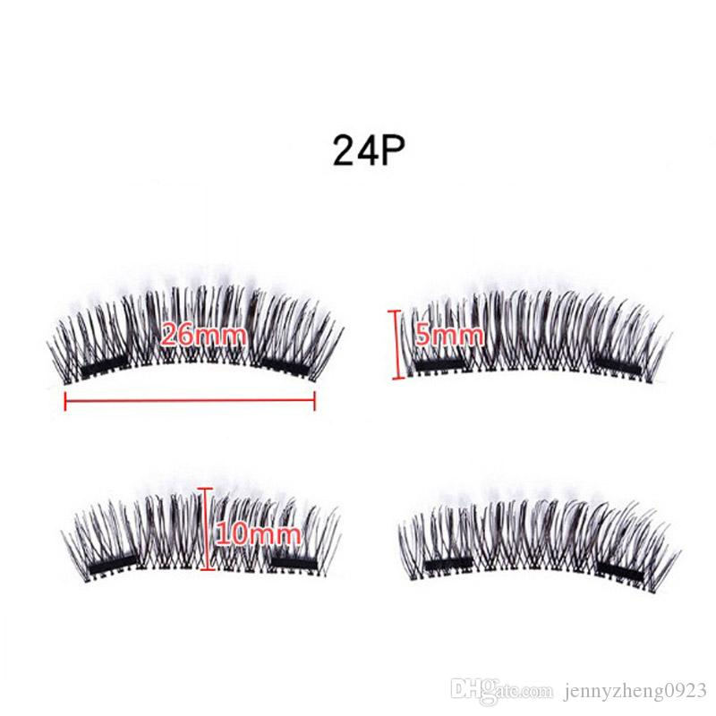 TWO Magnetic Lash Full Length Strips False Eyelashes Reusable Eyelash Extension Double Magnet Lashes Cosmetic Tools multi styles