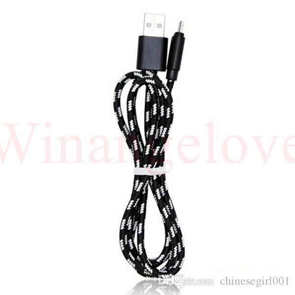 1m 3 pies de aleación de aluminio trenzado de nylon Tela Micro datos cable de carga USB para Samsung S6 S7 para Sony teléfono 7 6 5