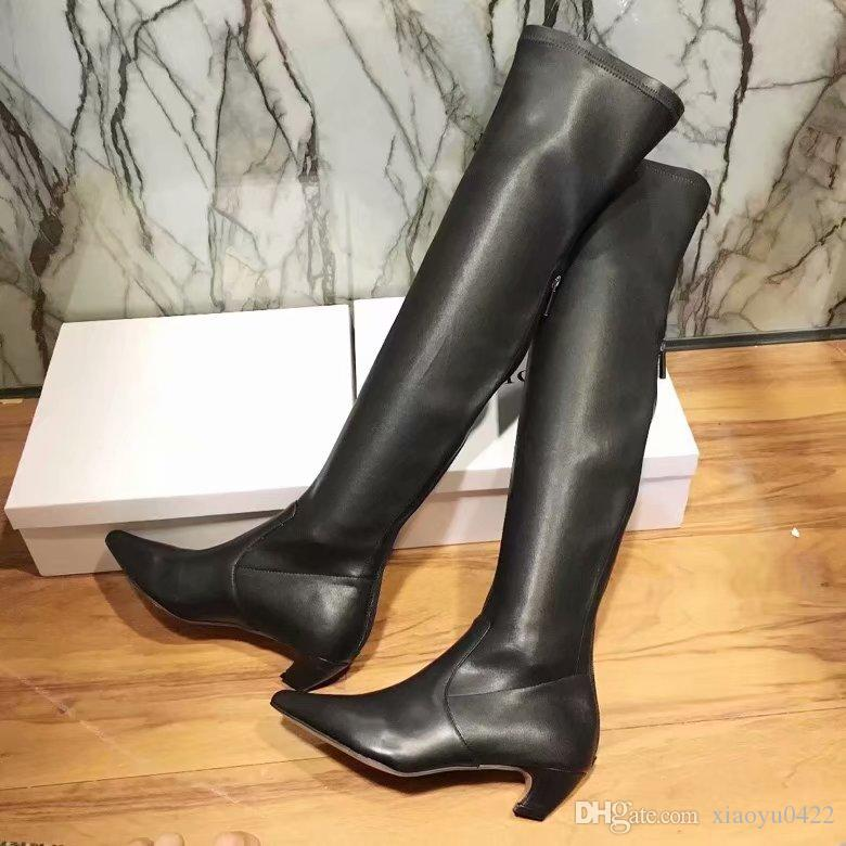 f6393f3f13b1 Classical Hot Sale Women Pointed Toes Side Zipper Over Knee Boots Ladies Kitten  Heel Black Comfortable Knee Boots Brown Boots Winter Boots For Women From  ...