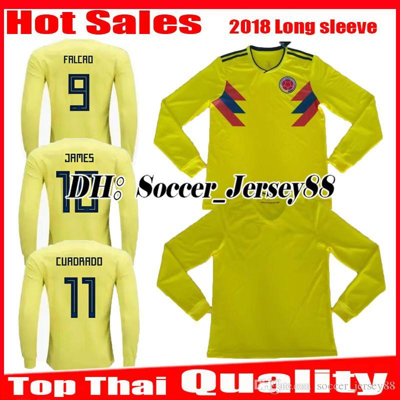 2018 2019 World Cup Colombia Long Sleeve Home Soccer Jersey 1819 ... 953eaafff