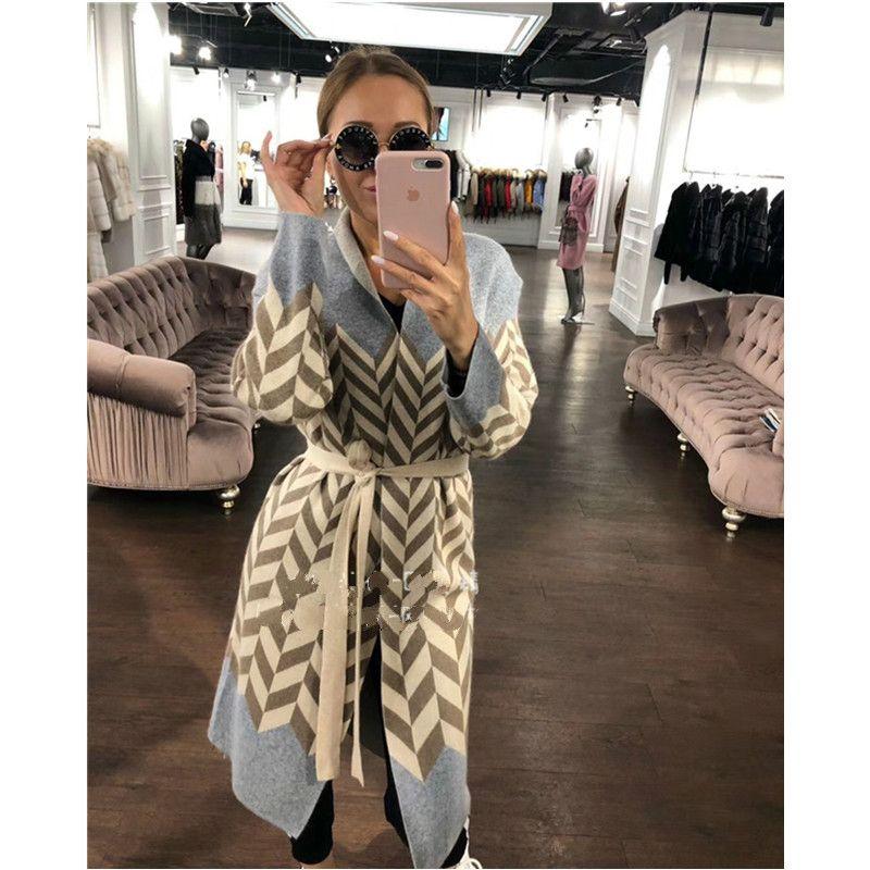 b3603379ec9 2019 Poncho Bamboo Fiber Jumper Sweater Women Cardigan Feminino 2018 Winter  New Velvet Wool Knit Water Ripple Long Sleeve Clothes From Bairi