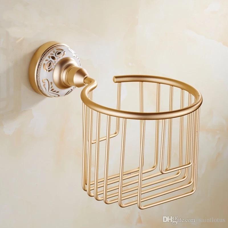 2018 supports à papier d'or montés au mur en laiton massif étagères de salle de bains douche shampooing étagère de rangement papier toilette panier