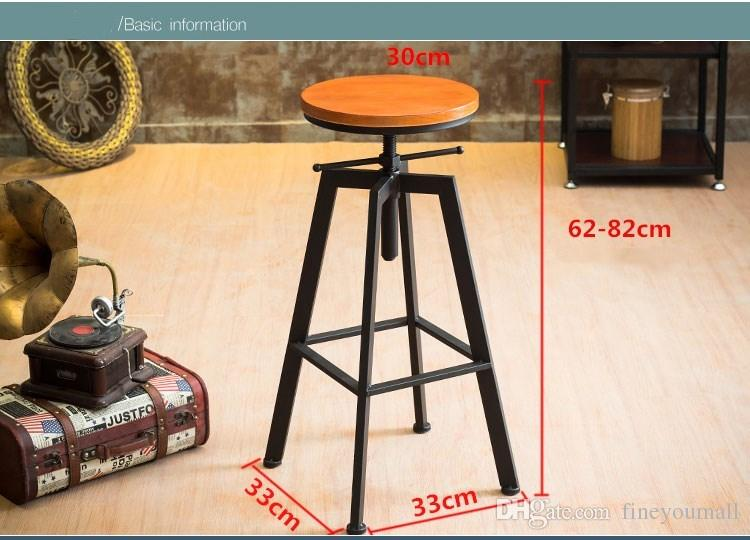 Height Adjustable Swivel Bar Stool Natural Pinewood Top Dining Chair Industrial Style Bar Furniture
