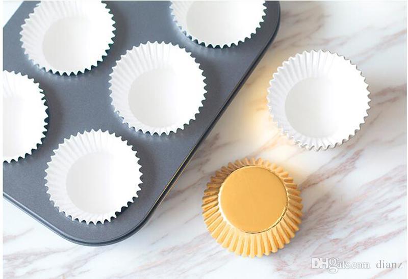 Hot Koop Goud Zilver Folie Papier Cupcake Liners Pure Kleur Cup Cake Wrappers Cake Decorating Gereedschap Bakken Cups