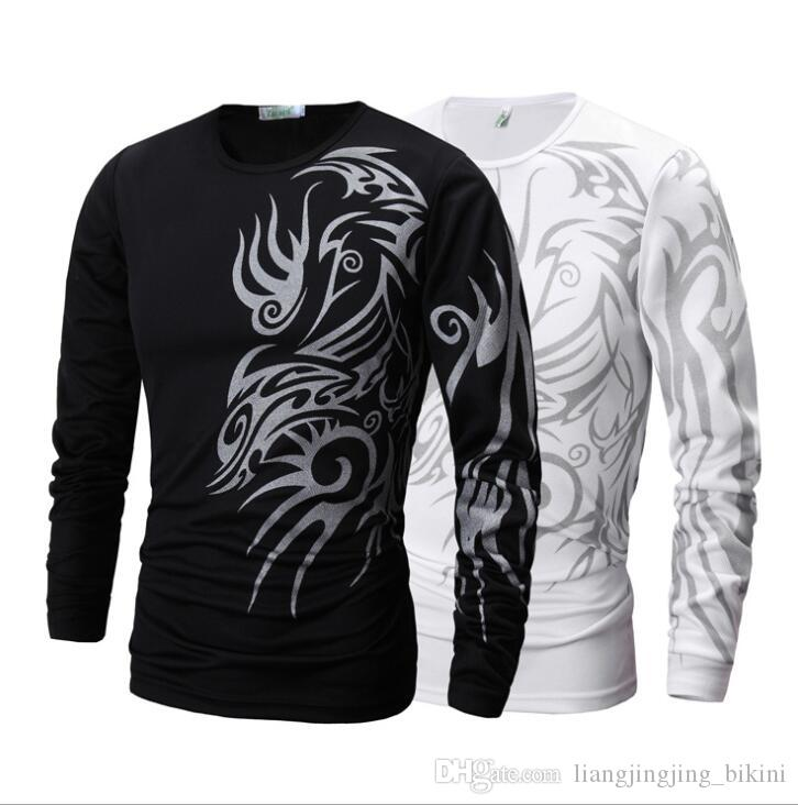 men long sleeve t shirt dragon tattoo printing round neck t shirt slim fit leisure top for men shirt kka4228 white t shirt designs awesome t shirt sites