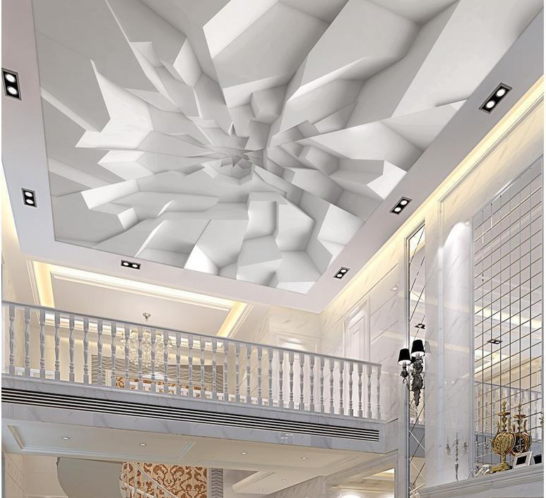Groshandel Benutzerdefinierte D Decke Tapete White Polygon Ziegel Wandtapete Fur Wande  D Decken Wandbilder Tapeten Fur Wohnzimmer Von Periwinkle
