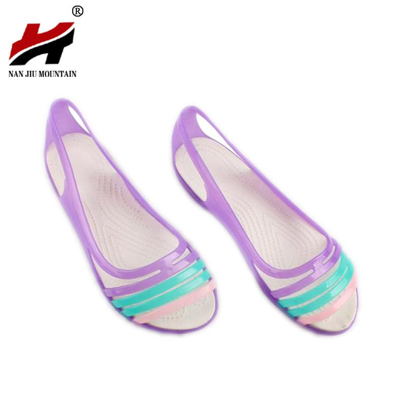 f6ba9e2fc8 Rainbow Jelly Shoes Women Flats Sandalias Woman Sandals Summer New Candy  Color Peep Toe Stappy Beach Valentine Mujer Slippers