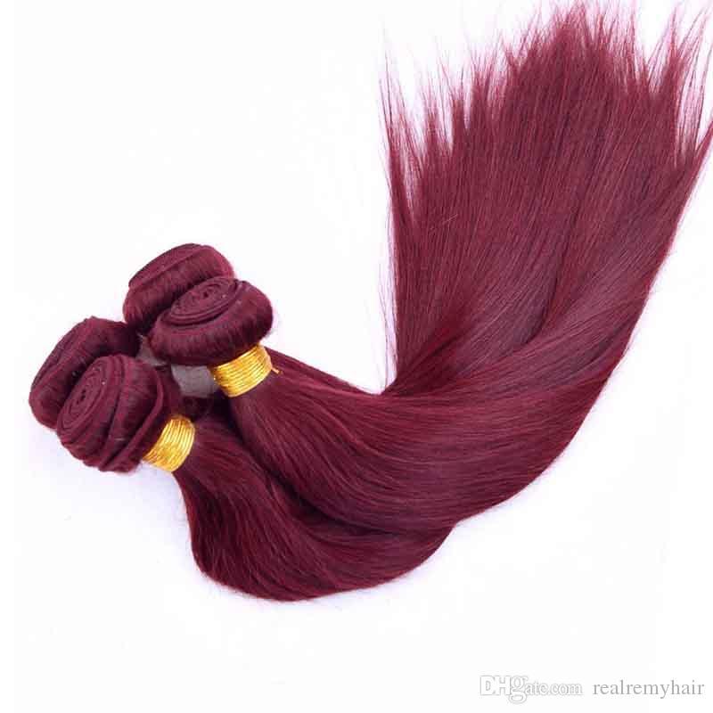 Colorati capelli umani brasiliani 3 bundles dritto 99 # stile dei capelli bordeaux economici brasiliani peruviano malesia remy capelli umani tesse