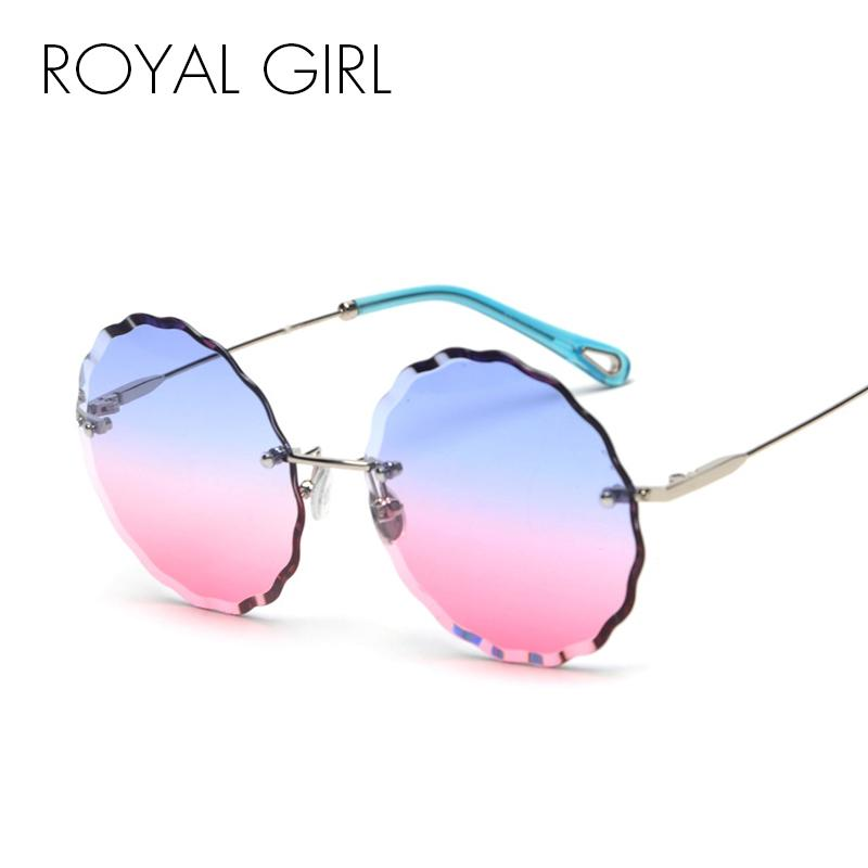 d9211a6845 ROYAL GIRL Rimless Round Sunglasses Women New High Quality Metal ...