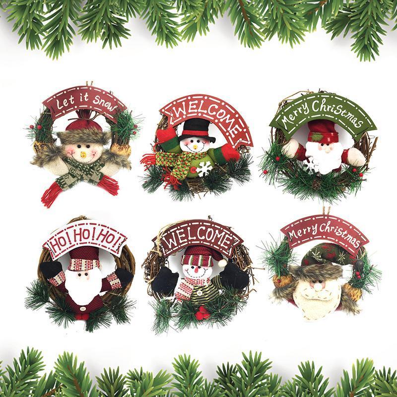Small Christmas Wreaths.2018 New Christmas Wreath Small Rattan Ring Pendant Christmas Door Hanging Decorations