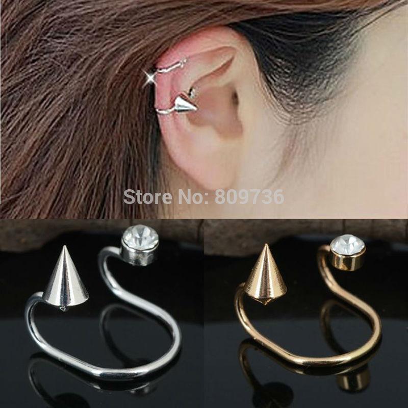 Chic Crystal Punk Rivet Spike Ear Bones Cuff Clip Earring No Puncture Rhinestone Women Jewlery Drop Free