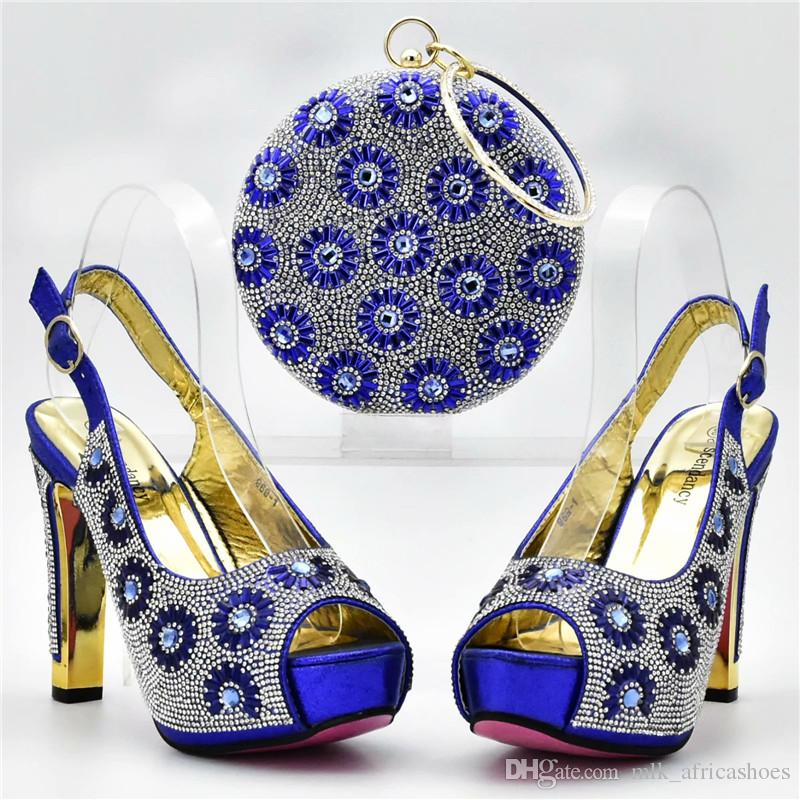 Royal Blue African Shoes And Matching Bags Italian Shoe And Bag Set For  Party In Women High Quality African Wedding Shoes And Bag Silver Heels  Dress Shoes ... c347b7e39372