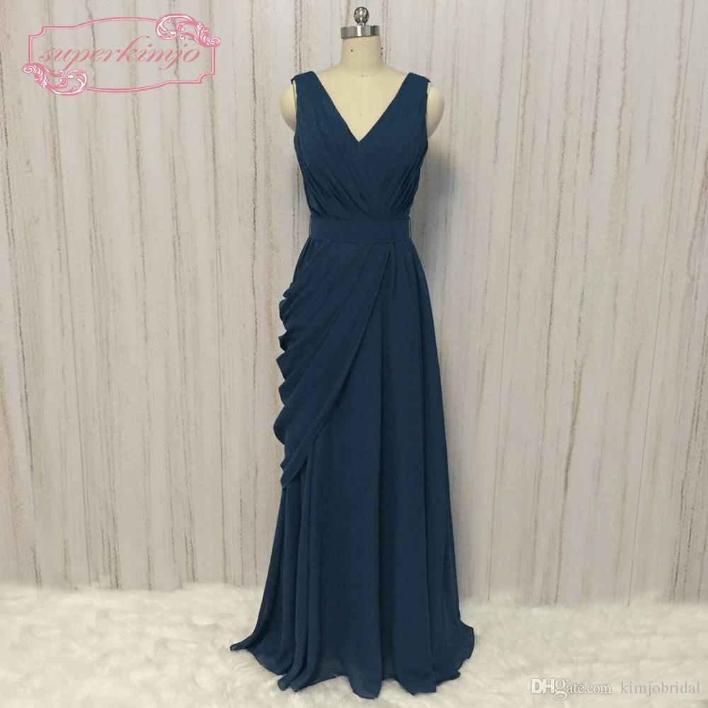 großhandel blaugrün brautjungfernkleider lange 2018 chiffon günstige eine  linie benutzerdefinierte hochzeit kleider robe de soiree von kimjobridal,