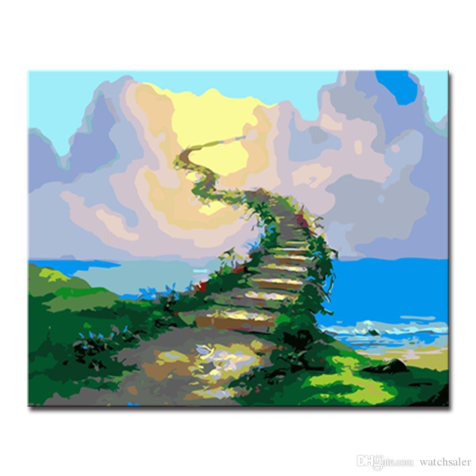 Oil Painting By Numbers DIY Handpainted Beautiful Cloud Road Digital Pictures On Canvas Home Decor Wall Art Color Drawing Framed