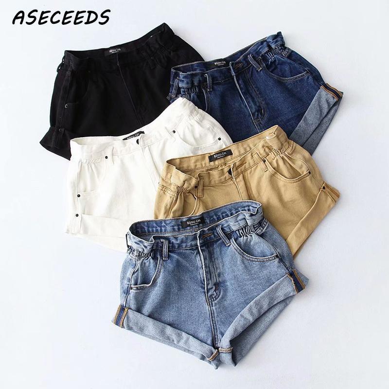 De Negro Algodón Cortos Vintage Pantalones Alta Cintura Caliente Mezclilla Caqui Elásticas Ropa Mujeres Pn0OX8wk