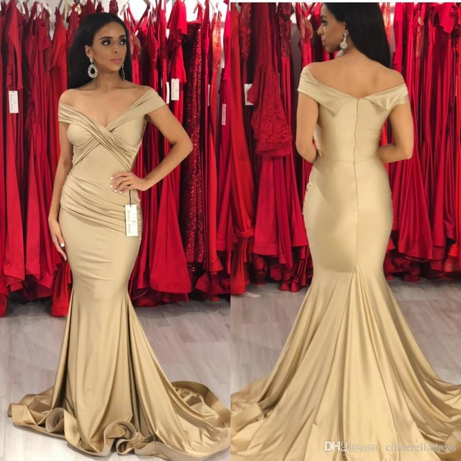 2854e447ded3e 2019 New Arrival Champagne Prom Dresses Sexy Backless Off Shoulder Mermaid  Long Evening Gowns Formal Vestidos De Fiesta Celebrity Gowns Colorful Prom  ...