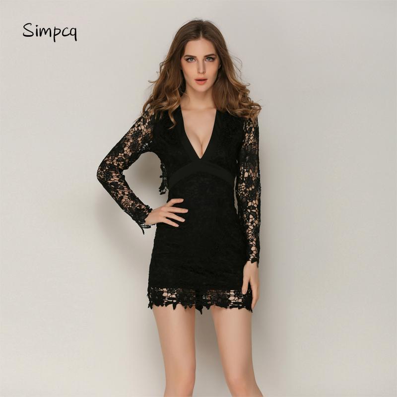 best service c6fd7 16c44 Mini abito sexy in pizzo per donna Elegante abito notturno con scollo a V e  scollo a V Vestitino estivo Vestido nero vestido