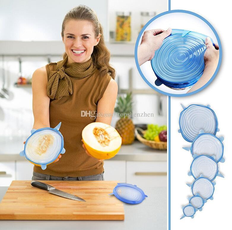 6 unids / set tapas del estiramiento del silicio tapa universal de Silicona tapa del recipiente de la olla tazón tapa de silicona sartén de cocina accesorios de cocina dropshipping