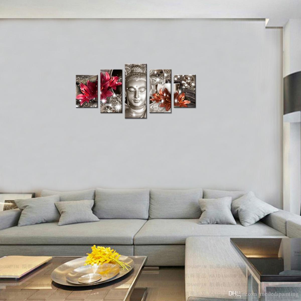 Acheter 5 Panneaux Bouddha Photo Rouge Et Orange Lily Fleur Fond Imprimé Abstrait Toile Peinture Mur Art Pour La Maison Décor étiré Encadré De 48 13